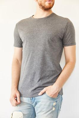 XHAN - Gri Bisiklet Yaka Basic T-Shirt 0YXE1-44069-03