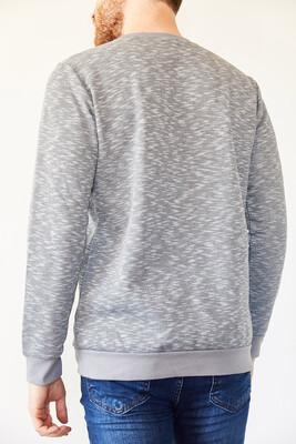 XHAN - Gri Bisiklet Yaka Üç İplik Şardonlu Sweatshirt 0YXE8-44126-03