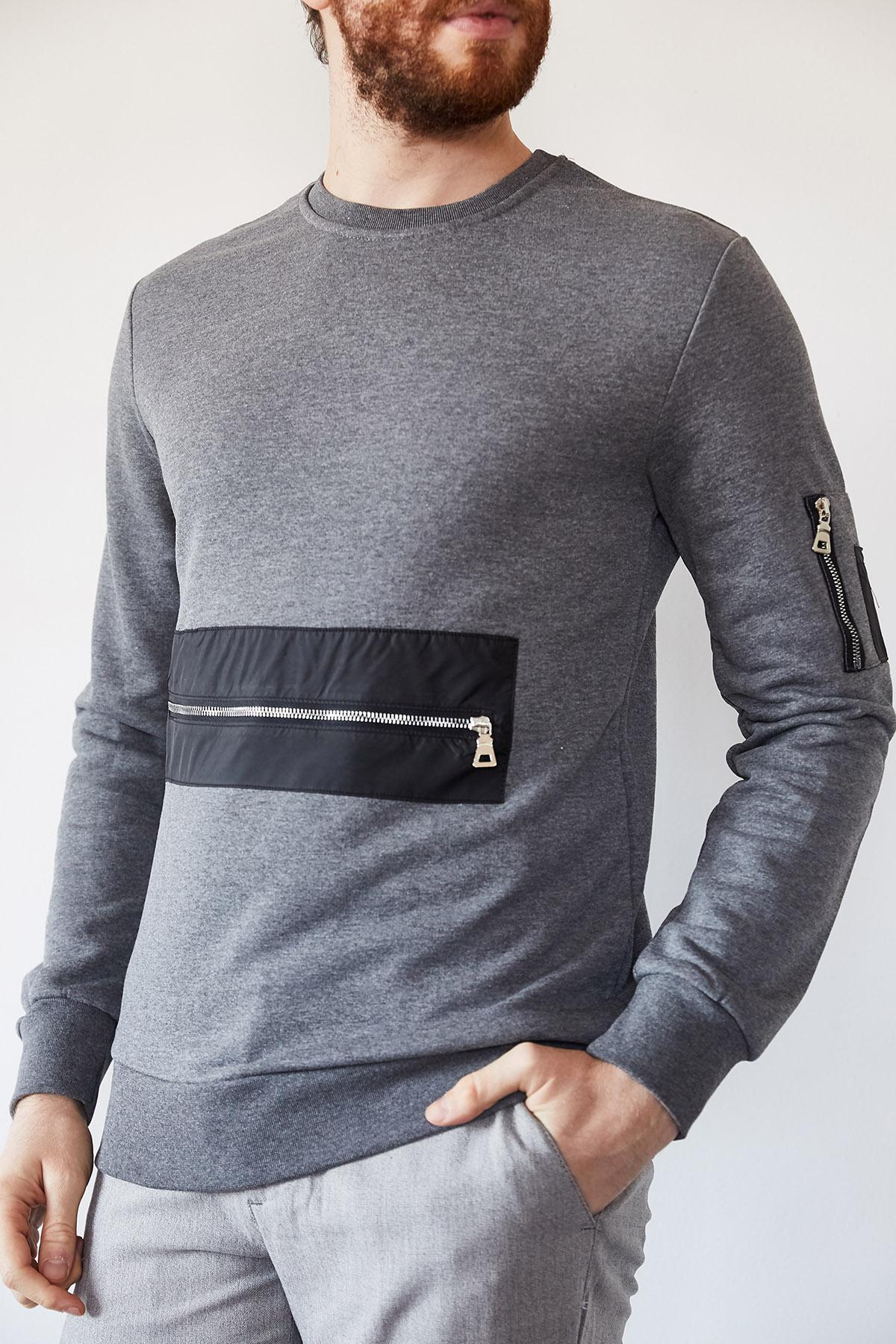 - Gri Fermuarlı Detaylı Garnili Sweatshirt 1KXE8-44237-03