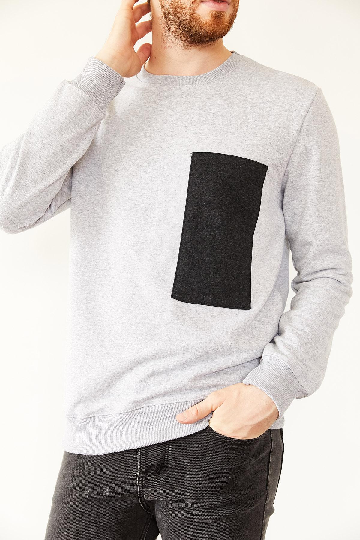 - Gri Göğüs Detaylı Üç İplik Sweatshirt 1KXE8-44132-03