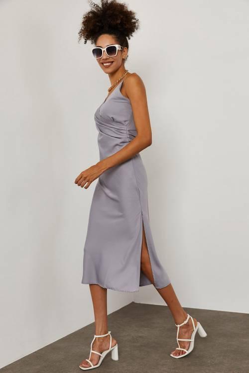 XHAN - Gri İp Askılı Saten Elbise 1YXK2-45280-03