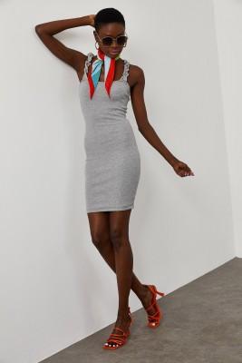 XHAN - Gri Kolu Büzgülü Kaşkorse Elbise 1YXK6-45043-03