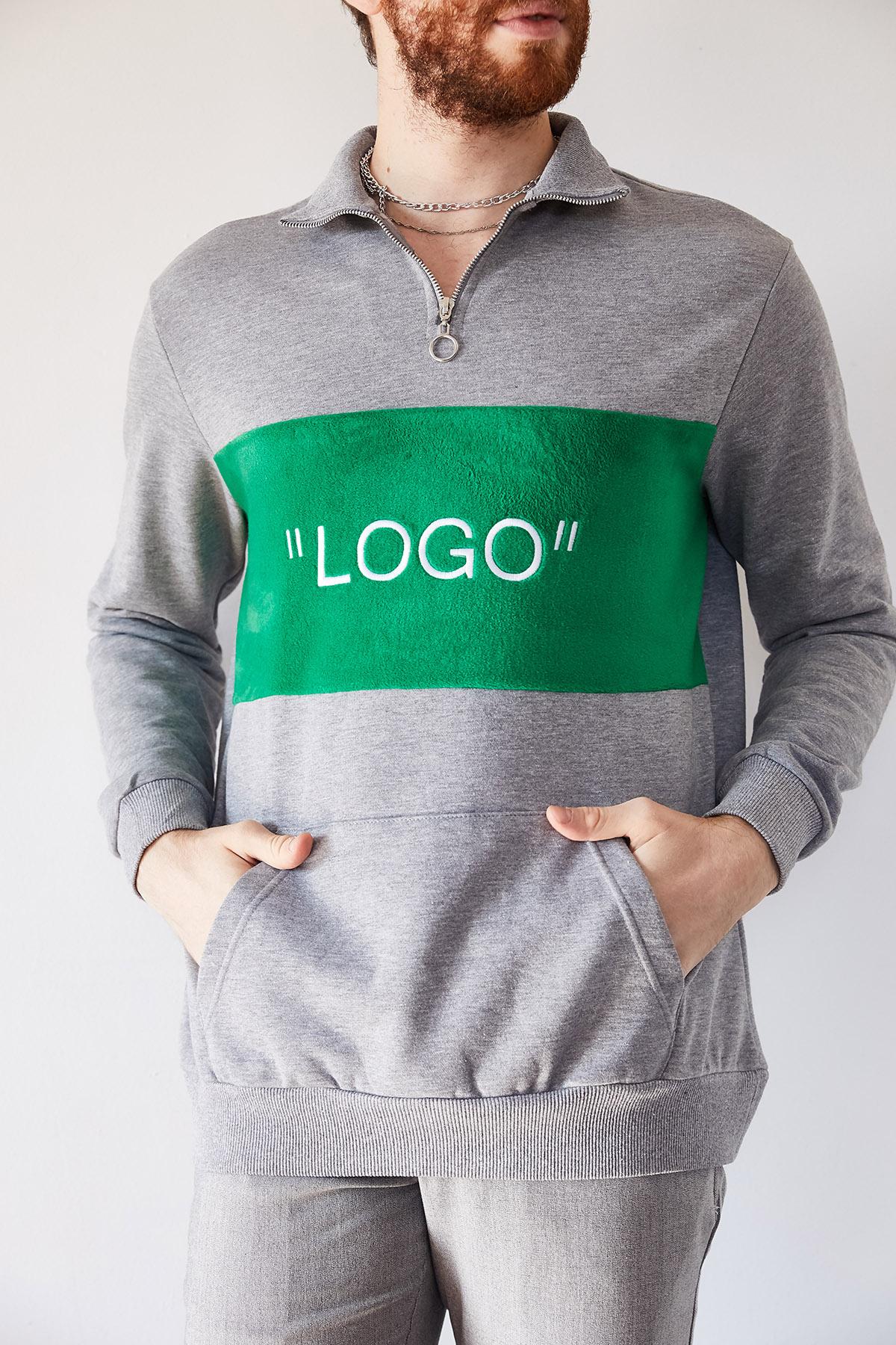 - Gri Nakışlı Üç İplik Sweatshirt 1KXE8-44231-03