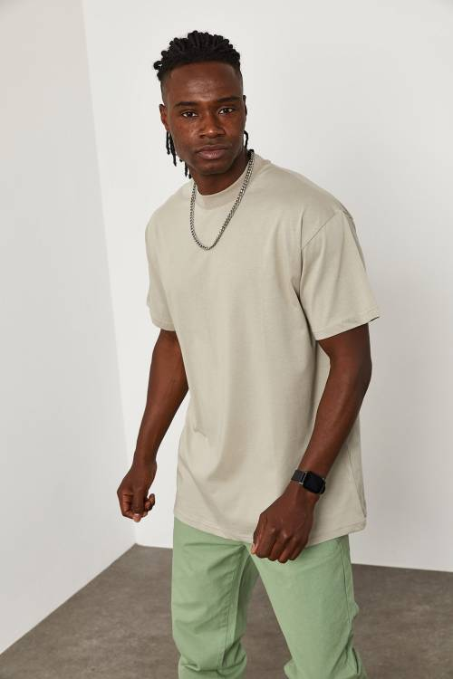 XHAN - Gri Oversize T-Shirt 1KXE1-44667-03