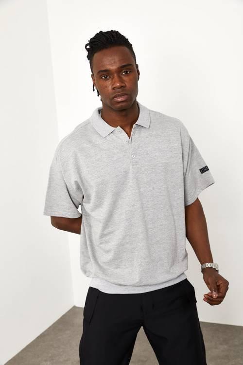 XHAN - Gri Polo Yaka Oversize T-shirt 1YXE1-44943-03