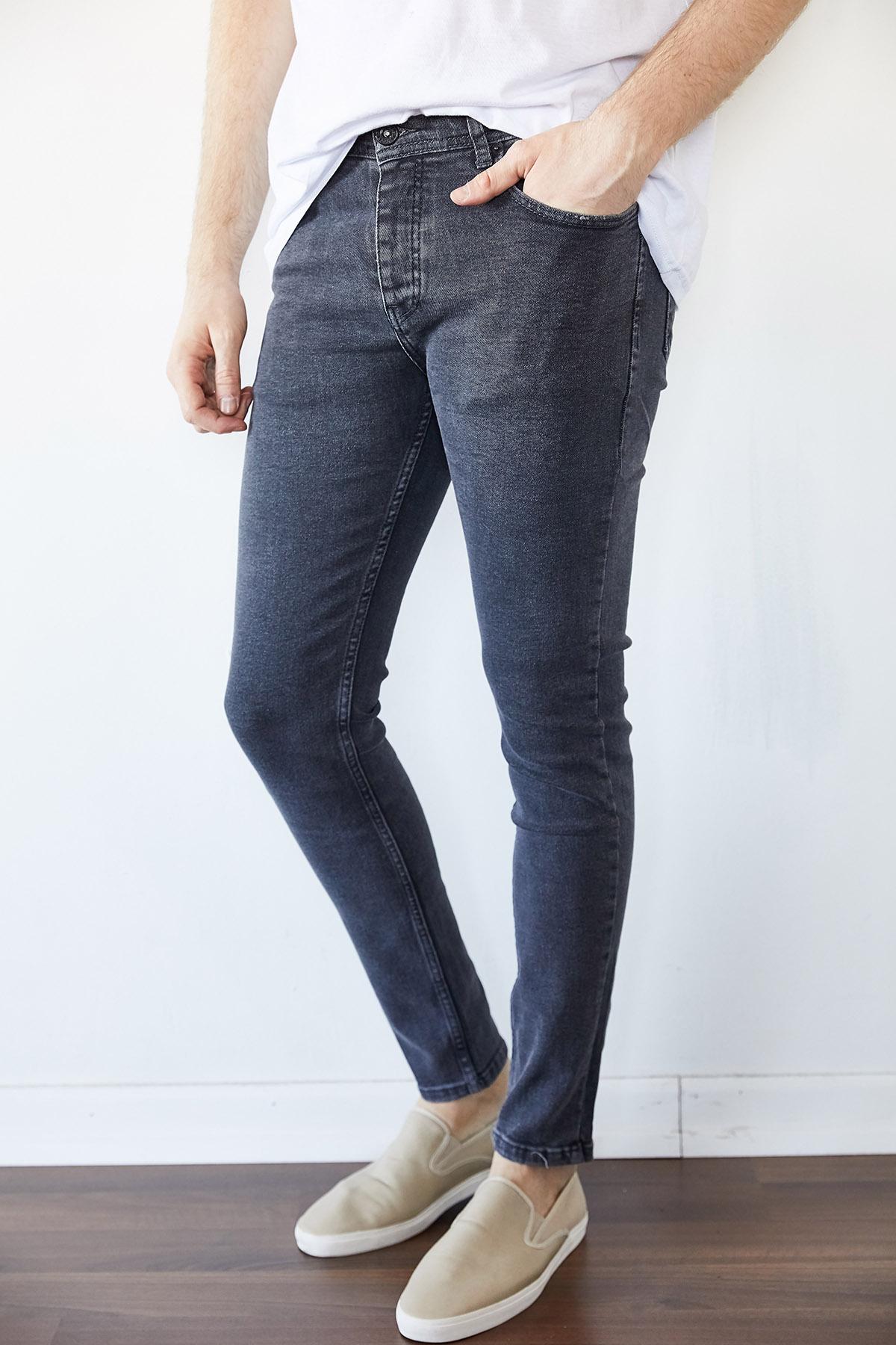 XHAN - Gri Slim Fit Jean Pantolon 1KXE5-44255-03