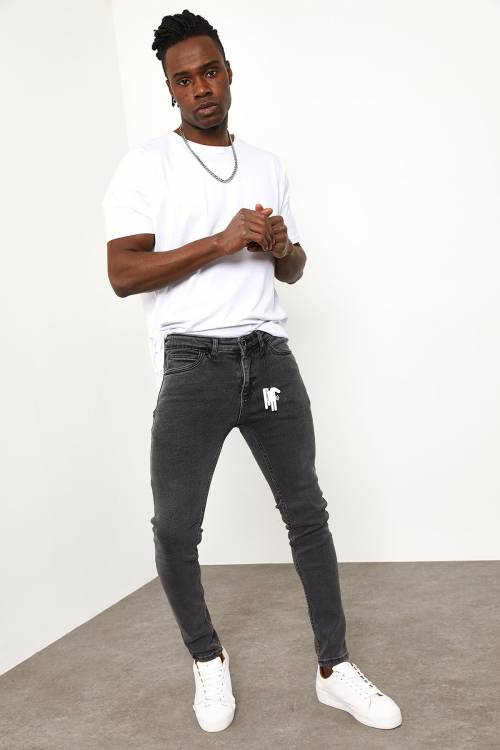 XHAN - Gri Slim Fit Jeans 1YXE5-44990-03