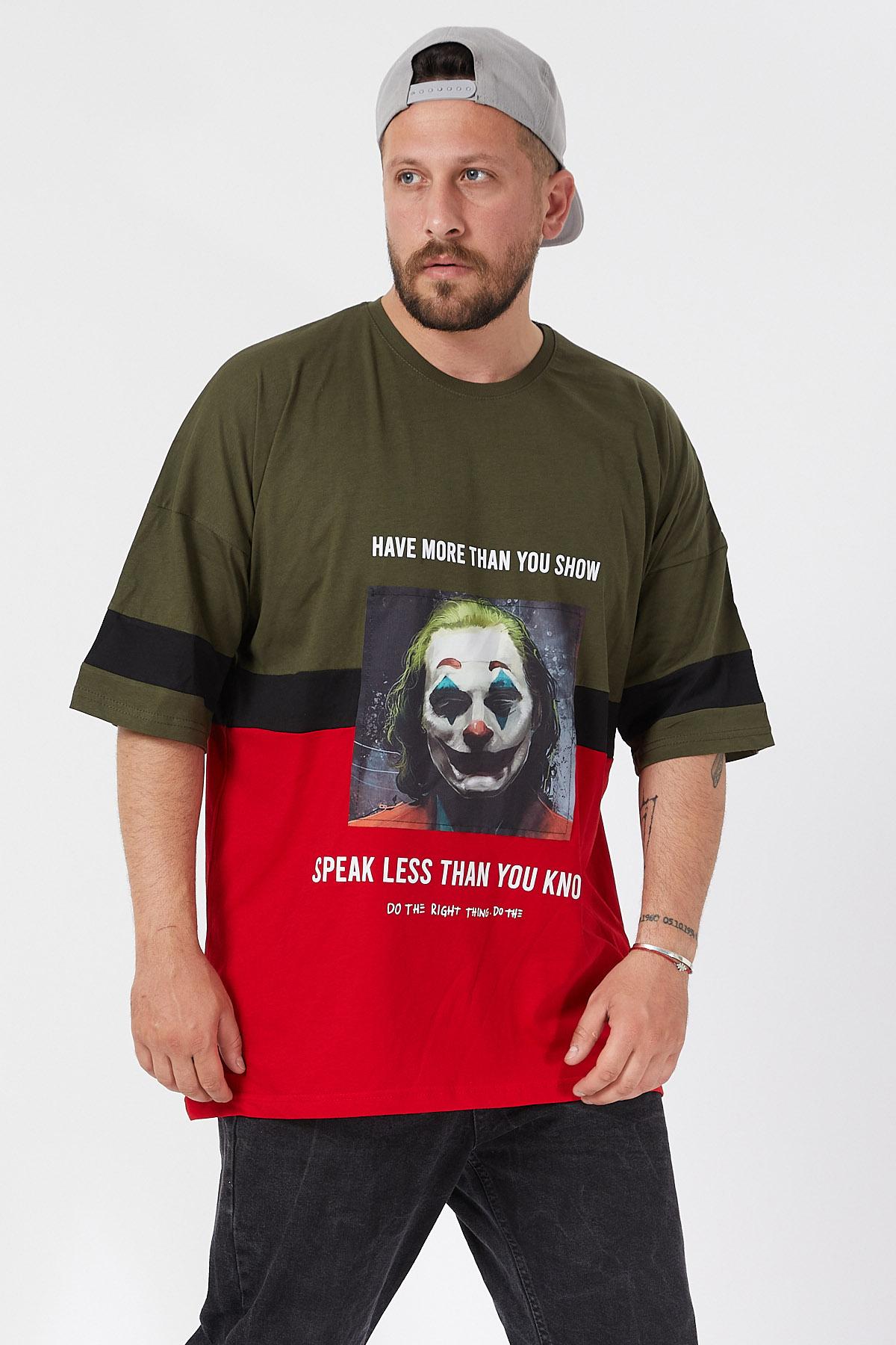 XHAN - Haki Baskılı Bloklu Oversie T-Shirt 1KXE1-44593-09