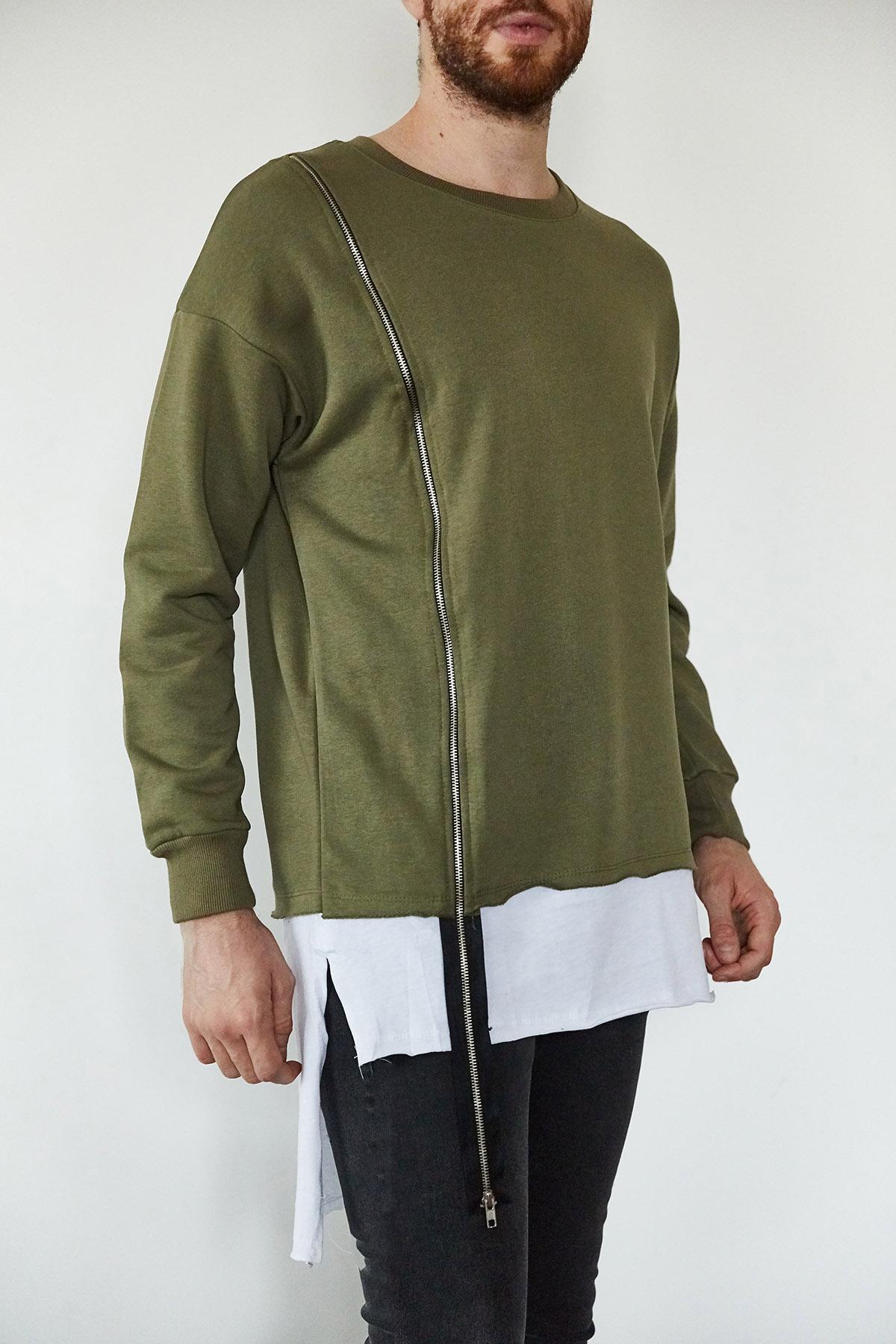 - Haki & Beyaz Fermuar Detaylı Uzun Sweatshirt 1KXE8-44166-09