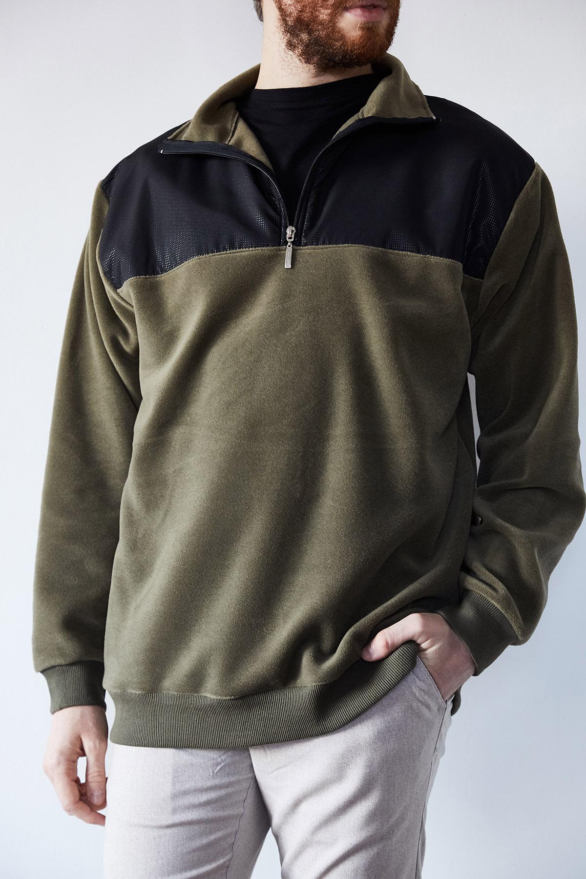 - Haki Deri Garnili Polar Sweatshirt 1KXE8-44233-09
