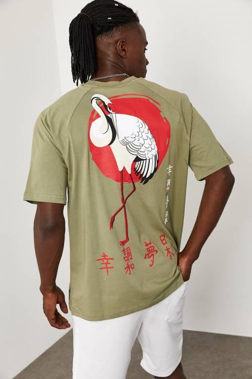 XHAN - Haki Flamingo Baskılı Oversize T-Shirt 1KXE1-44663-09