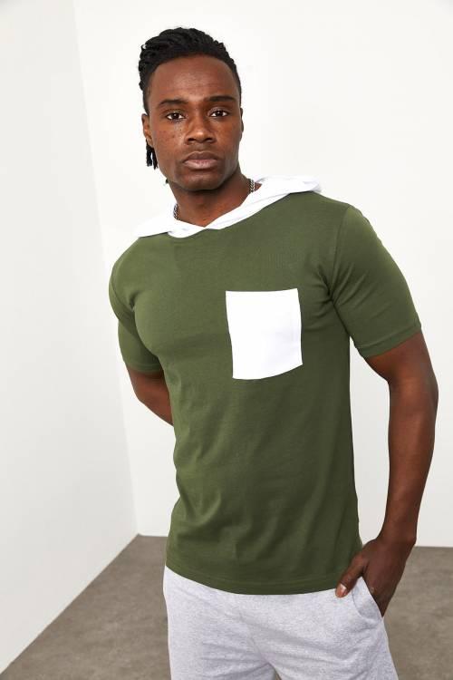 XHAN - Haki Kapüşonlu Önü Cepli T-shirt 1YXE8-44965-09