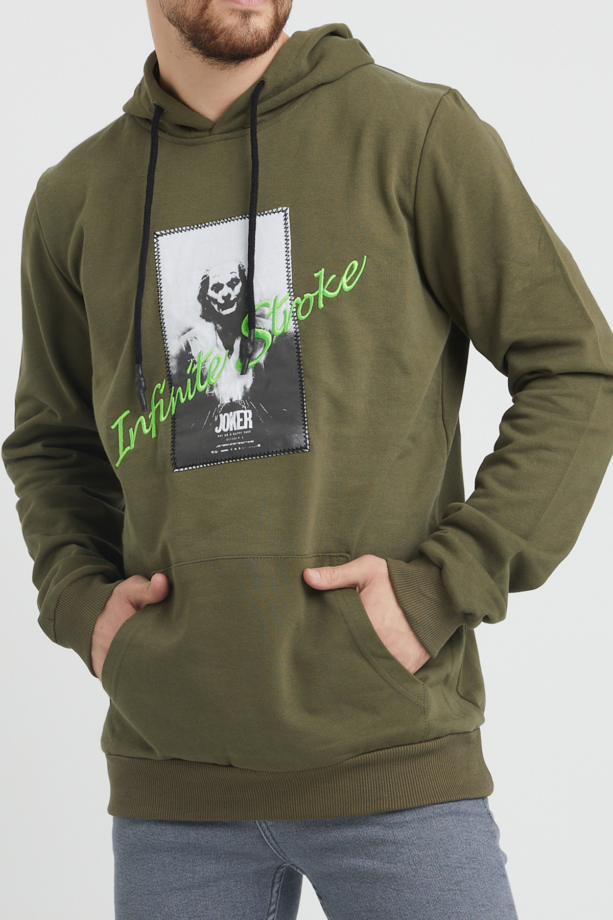 XHAN - Haki Nakış Detaylı Sweatshirt 1KXE8-44366-09
