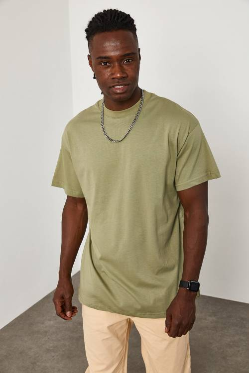 XHAN - Haki Oversize T-Shirt 1KXE1-44667-09