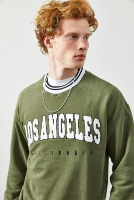 XHAN - Haki Peluş Baskılı Sweatshirt 2KXE8-45351-09