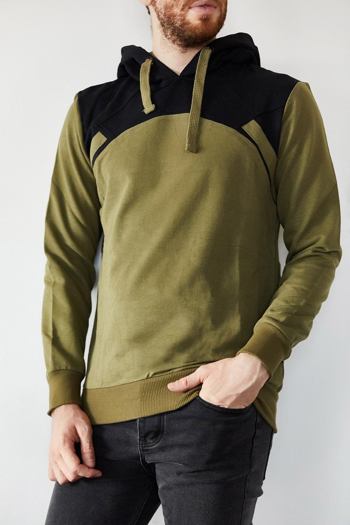 XHAN - Haki & Siyah Bloklu Sweatshirt 1KXE8-44173-09