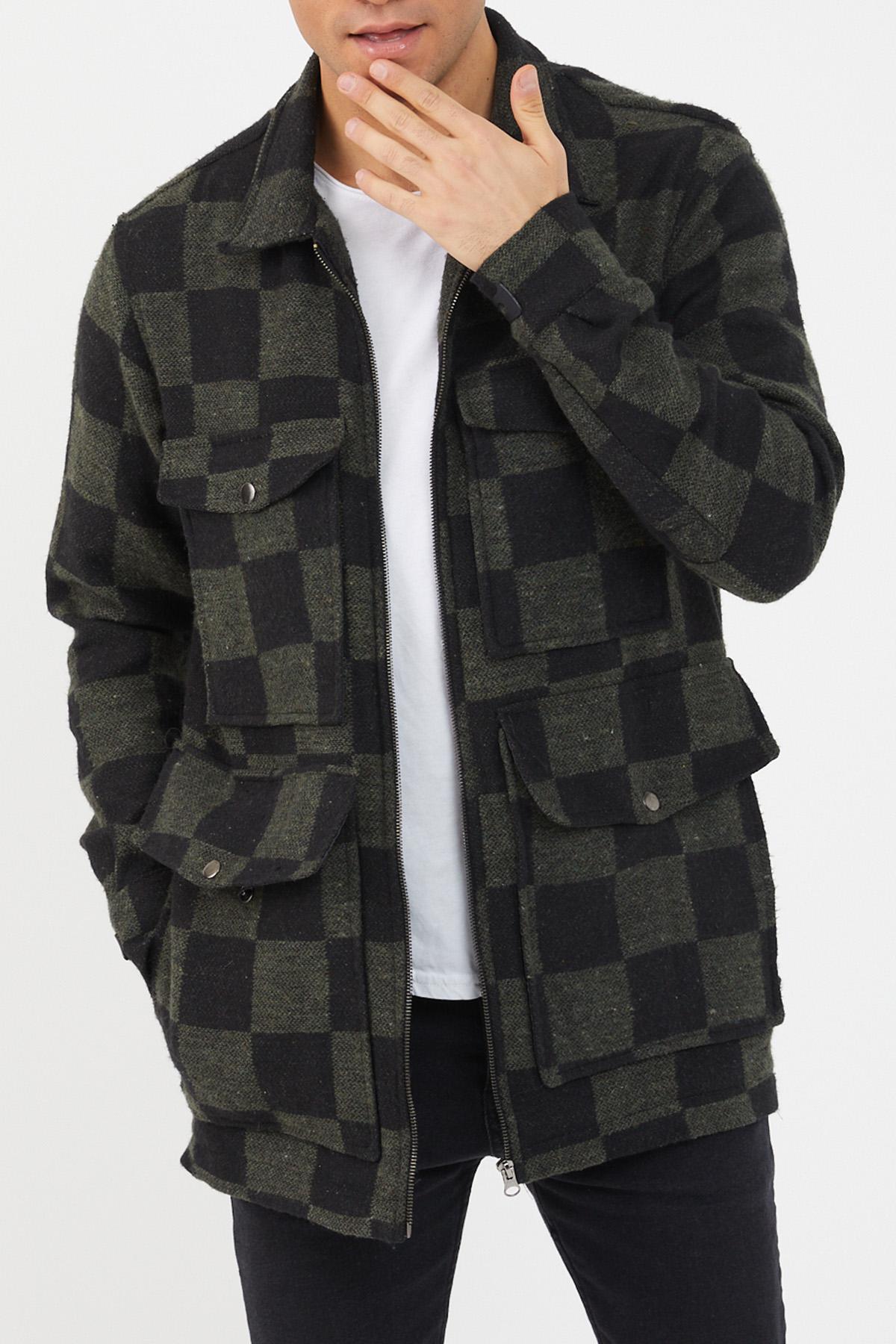 XHAN - Haki Siyah Ekose Fermuarlı Ceket 1KXE4-44461-09