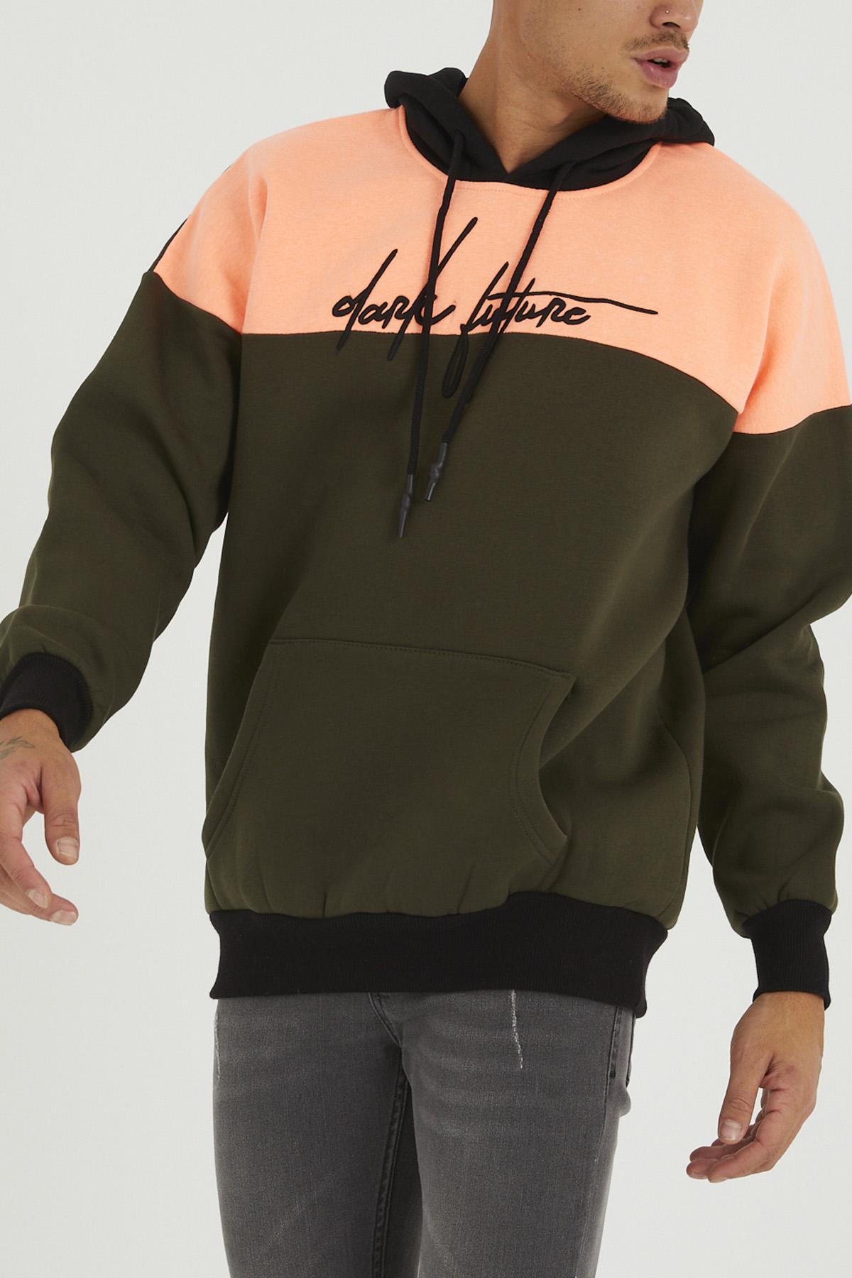 XHAN - Haki & Somon Nakışlı Sweatshirt 1KXE8-44321-09