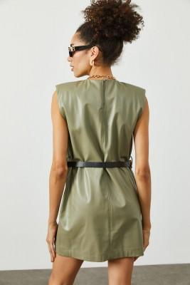 Haki Vatkalı & Kemerli Deri Elbise 2KXK6-45393-09 - Thumbnail