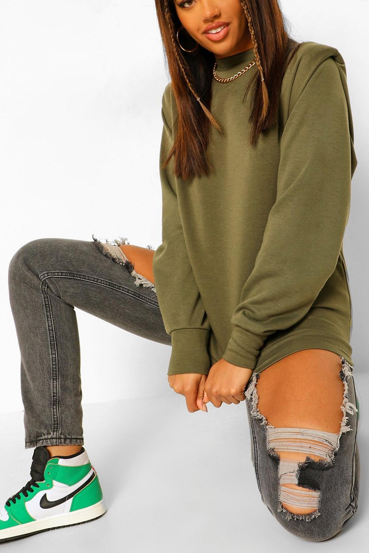 XHAN - Haki Vatkalı Sweatshirt 1KXK8-44260-09