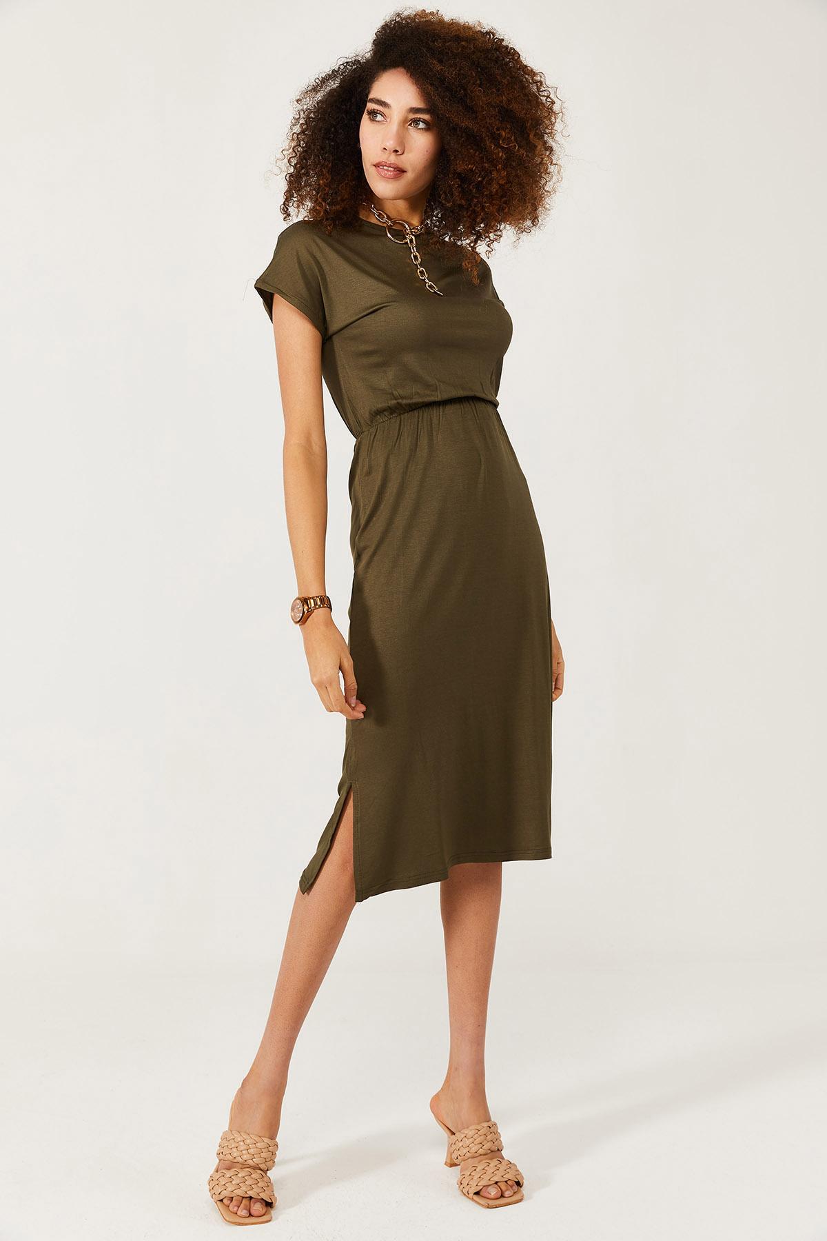 XHAN - Haki Yumuşak Dokulu Esnek Yırtmaçlı Elbise 1KXK6-44569-09