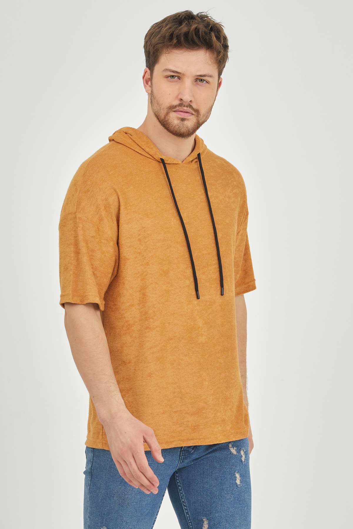 XHAN - Hardal Kısa Kol Baharlık Kapüşonlu Sweatshirt 1KXE8-44653-37