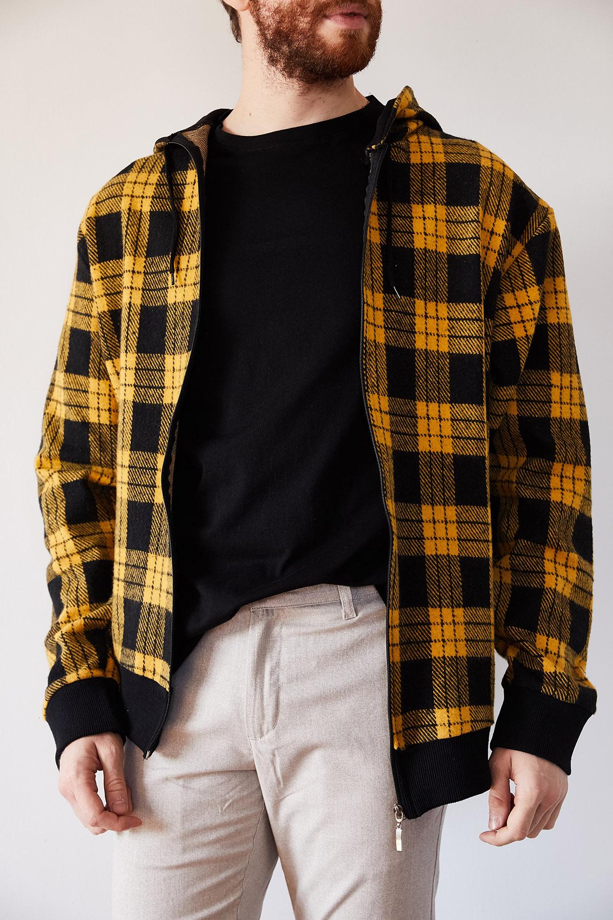- Hardal & Siyah Yün Ekoseli Fermuarlı Kepüşonlu Ceket 1KXE8-44247-37