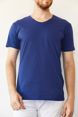 XHAN - İndigo V Yaka Basic T-Shirt 0YXE1-44123-27