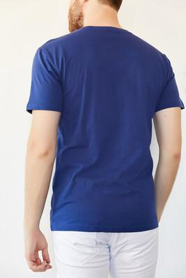 İndigo V Yaka Basic T-Shirt 0YXE1-44123-27 - Thumbnail