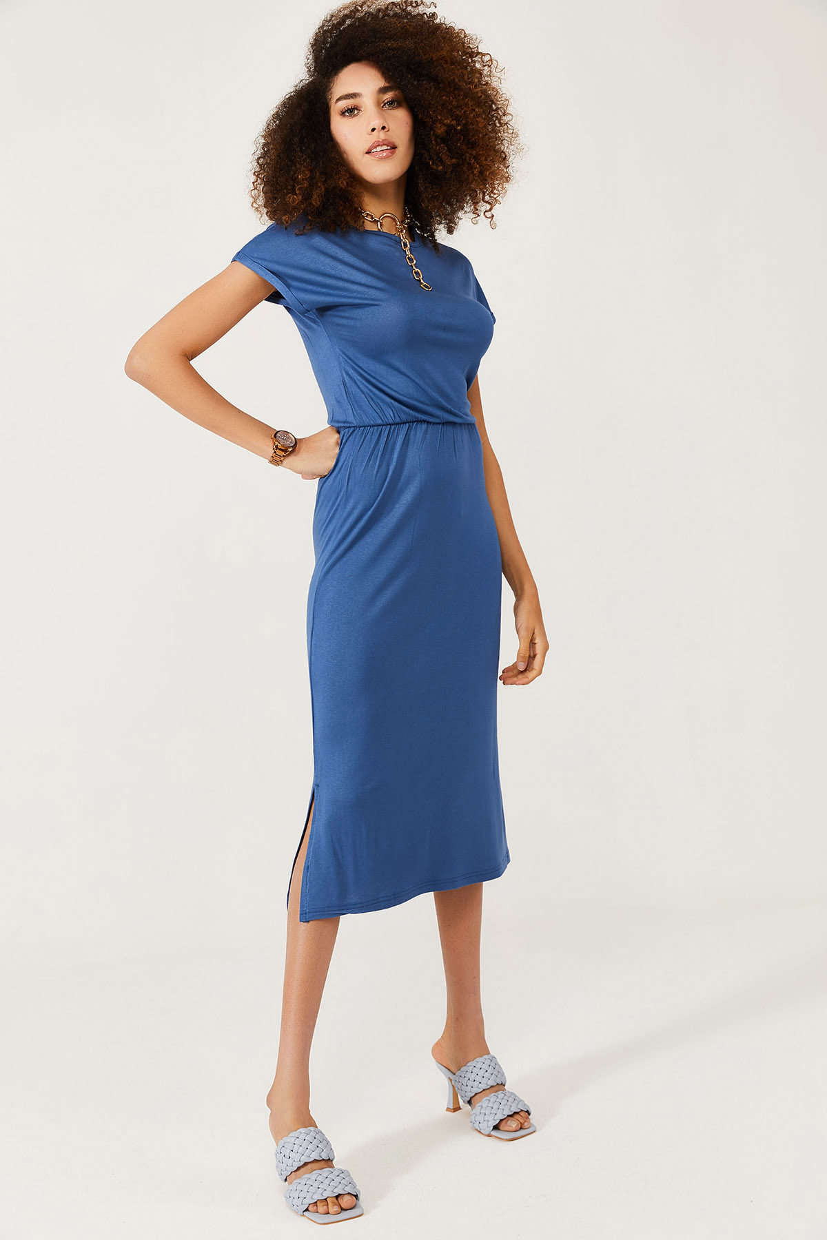 XHAN - İndigo Yumuşak Dokulu Esnek Yırtmaçlı Elbise 1KXK6-44569-27