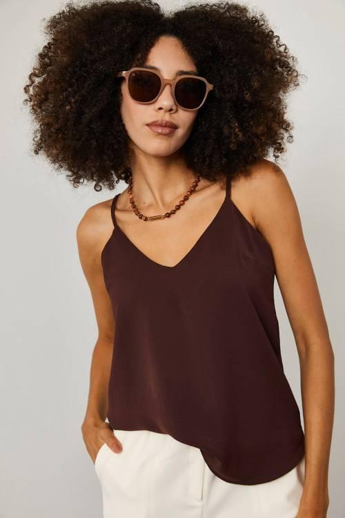 XHAN - Kahverengi Askılı V Yaka Bluz 1YXK2-45267-18