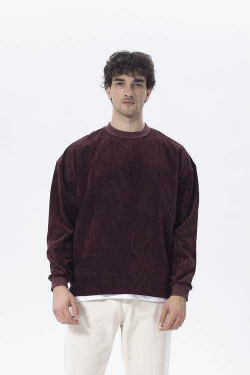 XHAN - Kahverengi Oversize Fitilli Kadife Sweatshirt 2KXE8-45512-18