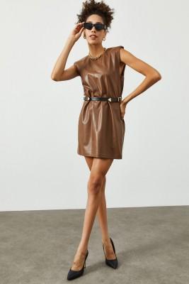 XHAN - Kahverengi Vatkalı & Kemerli Deri Elbise 2KXK6-45393-18