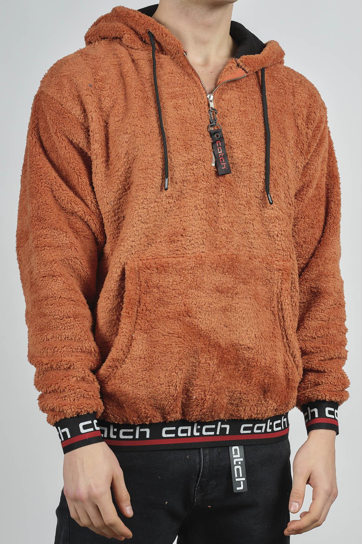 - Kiremit Kanguru Cepli Peluş Sweatshirt 1KXE8-44270-16