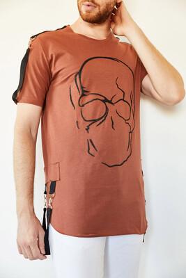 XHAN - Kiremit Kuru Kafa Baskılı Şerit Detaylı Uzun T-Shirt 0YXE1-44106-16