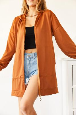 XHAN - Kiremit Uzun Fermuarlı Sweatshirt 0YXK8-44010-16