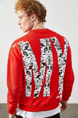 XHAN - Kırmızı Arkası Baskılı Sweatshirt 2KXE8-45352-04