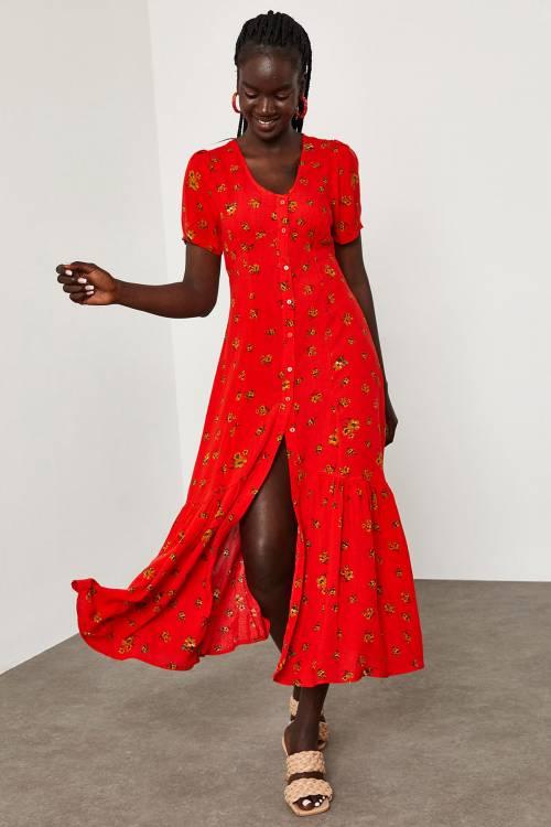 XHAN - Kırmızı Çiçek Desenli Arkası Kuşaklı Elbise 1YXK6-45064-04