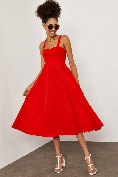 XHAN - Kırmızı Dikişli Pamuk Elbise 1YXK6-45250-04