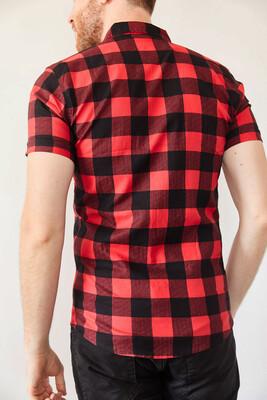 XHAN - Kırmızı Ekoseli Fermuarlı Slim Fit Gömlek 0YXE2-44025-04