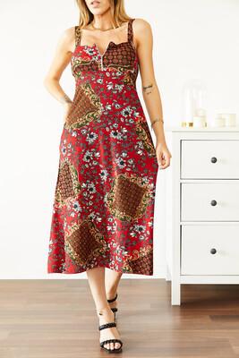 XHAN - Kırmızı Fermuarlı Desenli Elbise 0YXK6-43867-04