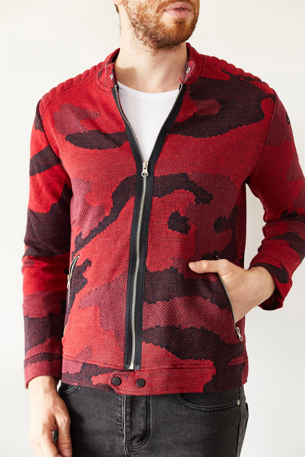 - Kırmızı Kamuflaj Desenli Ceket 1KXE8-44145-04