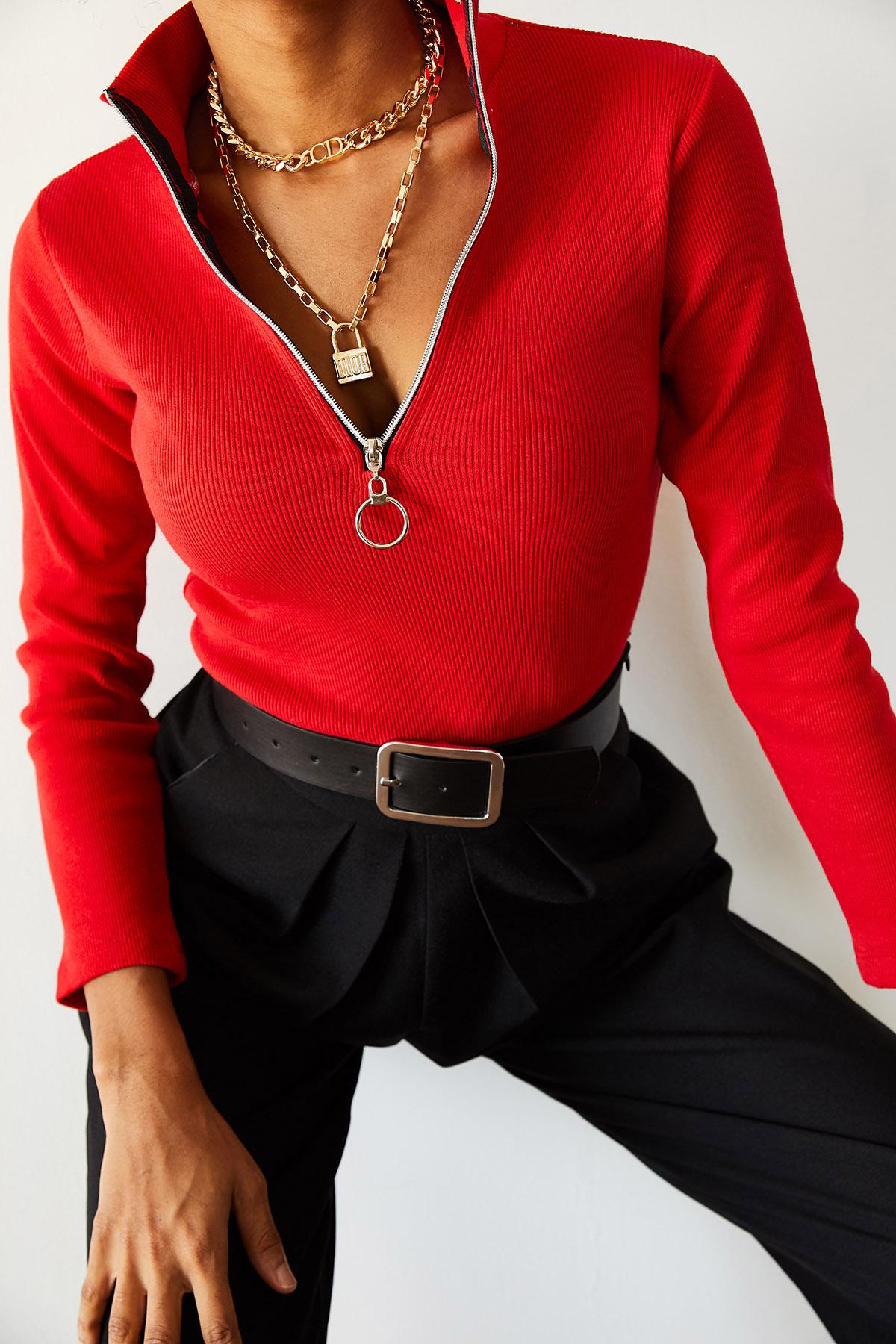 XHAN - Kırmızı Kaşkorse Fermuarlı Bluz 1KXK8-44690-04
