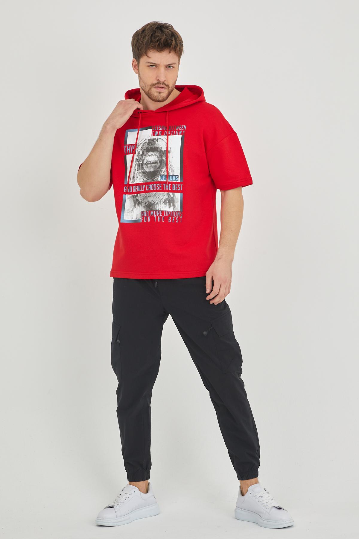 XHAN - Kırmızı Kısa Kol Baskılı Kapüşonlu Sweatshirt 1KXE8-44655-04