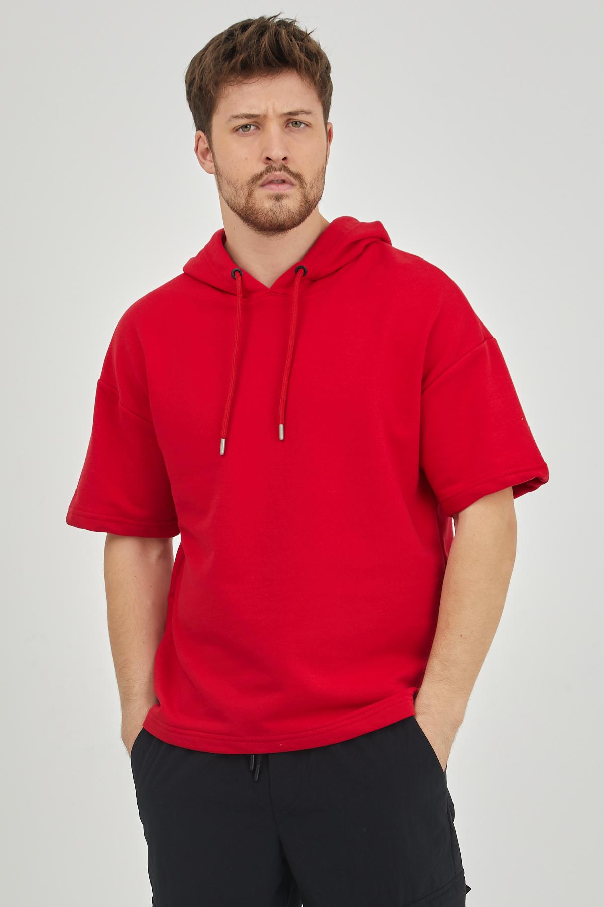 XHAN - Kırmızı Kısa Kol Kapüşonlu Sweatshirt 1KXE8-44654-04