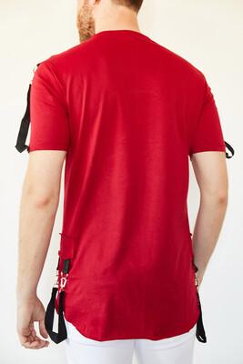 XHAN - Kırmızı Kuru Kafa Baskılı Şerit Detaylı Uzun T-Shirt 0YXE1-44106-04