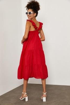 XHAN - Kırmızı MidiBoy Brode Elbise 1YXK6-45255-04