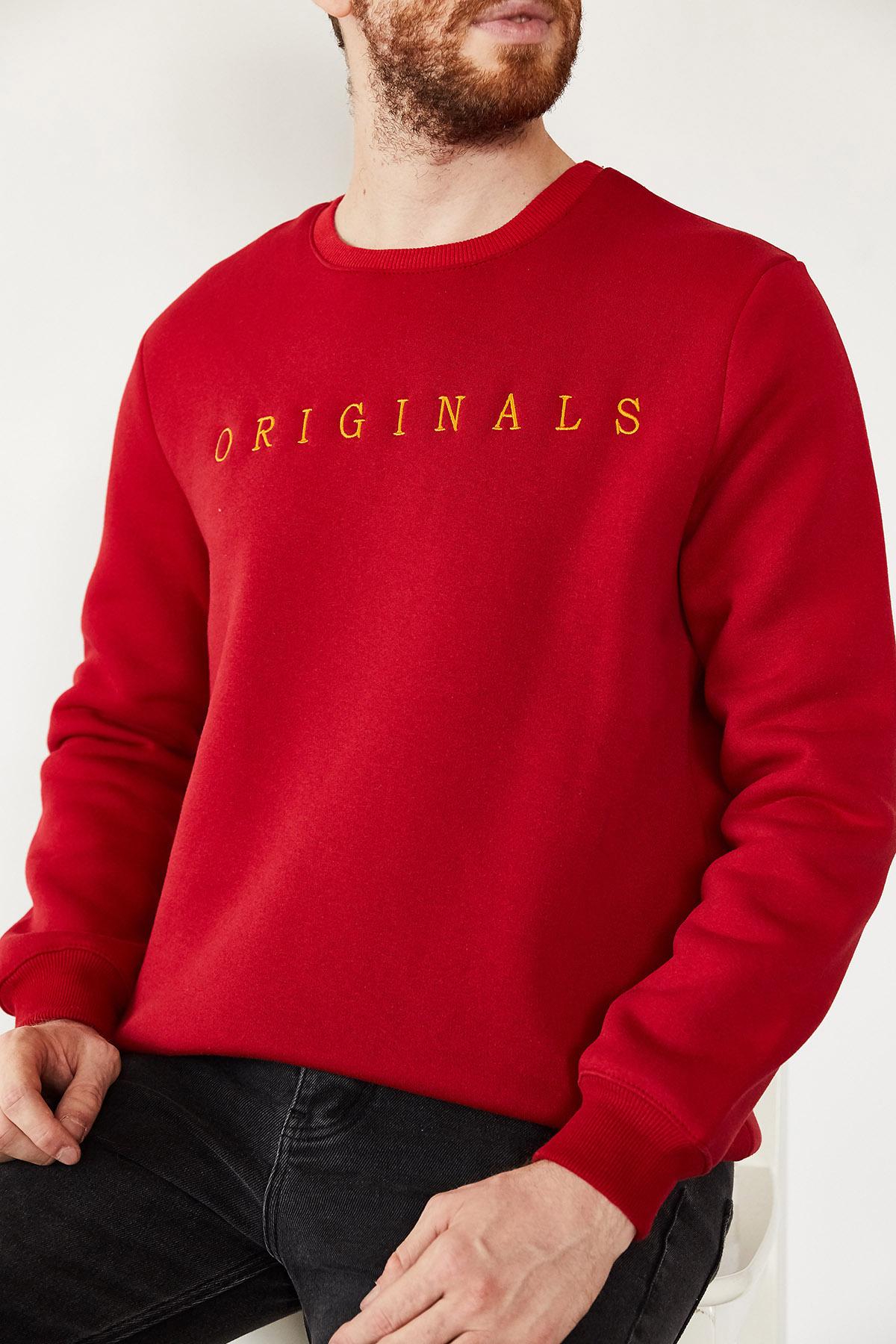 - Kırmızı Nakışlı Üç İplik Bisiklet Yaka Sweatshirt 1KXE8-44174-04