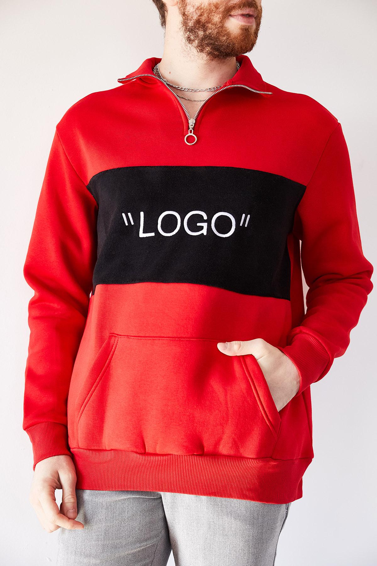 - Kırmızı Nakışlı Üç İplik Sweatshirt 1KXE8-44231-04