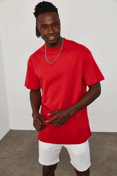 XHAN - Kırmızı Oversize T-Shirt 1KXE1-44667-04